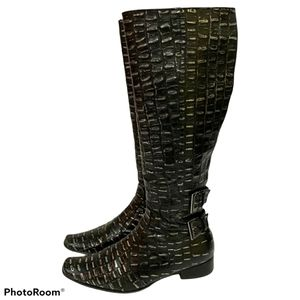 Davos gomma Crocodile embossed Boots size 8